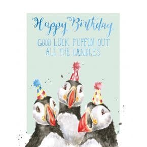 puffin out the candles birthday card