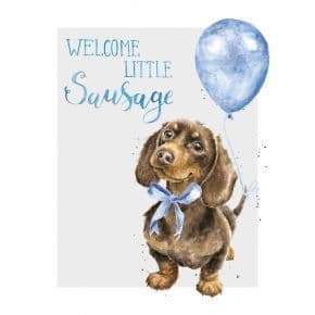 Welcome Little Sausage' new baby boy card