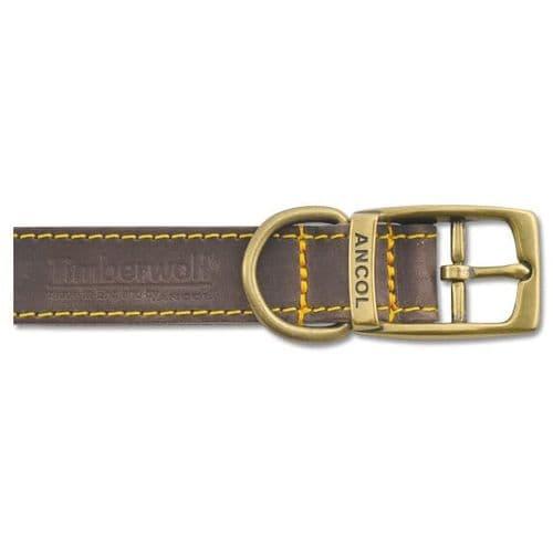 Ancol Timberwolf Sable Leather Dog Collar 40cm