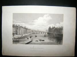 Pugin Paris 1831 Antique Print. Pont au Change, France