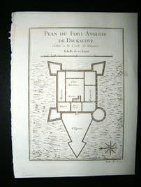 Africa Ghana: C1750 Antique Map, Fort de Dockscove. Bellin Prevost
