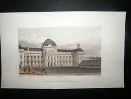 Pugin Paris 1831 Antique Hand Col Print. Ecole Militaire, Faade Meridionale, France