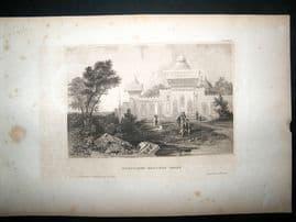 India:C1840 Steel Engraving, Nausoleum Print.