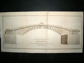 A Design for a Bridge over Great Yarmouth Haven, Norfolk 1771 Print