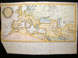 A General Map of the Roman Empire C1750 Hand Col Antique Map