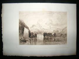 A. Brunet Debaines after J. M. W. Turner 1885 Etching. Totnes, Devon