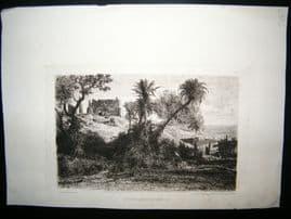A. D. Balfourier 1860's Etching. Le Vieux Chateau de Giens