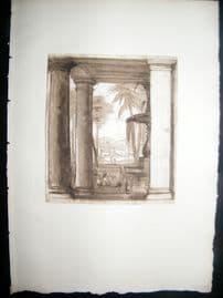 A. Dawson after Claude Lorrain 1885 Photogravure. Vista seen between columns