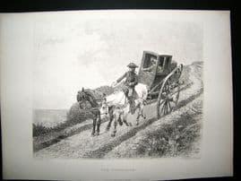 A. La Lauze after R. Goubie 1878 Etching, The Postillion