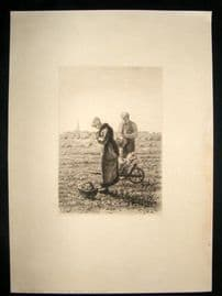 A. P. Martial after J. F. Millet C1889 Folio Etching. The Angelus