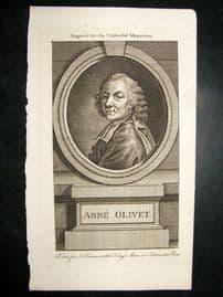Abbe Olivet C1780 Antique Portrait Print