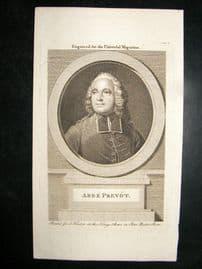 Abbe Prevot C1780 Antique Portrait Print