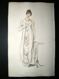 Ackermann 1809 Hand Col Regency Fashion Print. A Ball Dress