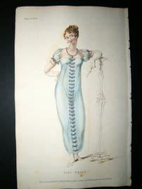 Ackermann 1809 Hand Col Regency Fashion Print. Ball Dress 2-24