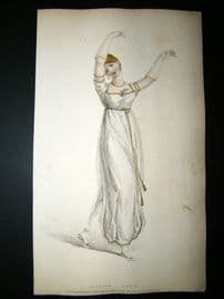 Ackermann 1809 Hand Col Regency Fashion Print. Dancing Dress 1-6