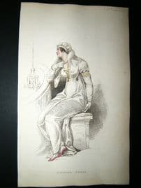 Ackermann 1809 Hand Col Regency Fashion Print. Evening Dress 2-38