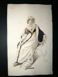 Ackermann 1809 Hand Col Regency Fashion Print. Full Dress 1-15