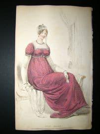 Ackermann 1809 Hand Col Regency Fashion Print. Half Dress