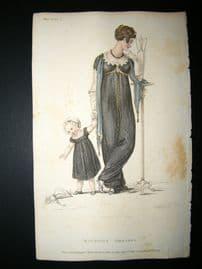Ackermann 1809 Hand Col Regency Fashion Print. Mourning Dress 2-17