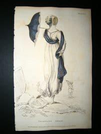 Ackermann 1809 Hand Col Regency Fashion Print. Promenade Dress 2-18
