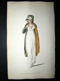 Ackermann 1809 Hand Col Regency Fashion Print. Tyrolese Walking Dress 2-37