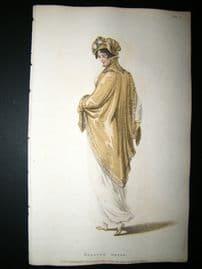 Ackermann 1809 Hand Col Regency Fashion Print. Walking Dress 1-24