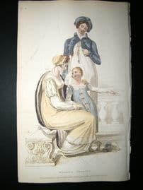 Ackermann 1809 Hand Col Regency Fashion Print. Walking Dress 1-28