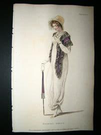 Ackermann 1809 Hand Col Regency Fashion Print. Walking Dress 2-25