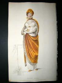 Ackermann 1809 Hand Col Regency Fashion Print. Walking Dress