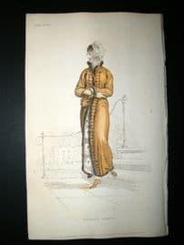 Ackermann 1811 Hand Col Regency Fashion Print. Walking Dress 6-28