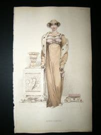 Ackermann 1813 Hand Col Regency Fashion Print. Opera Dress 9-6