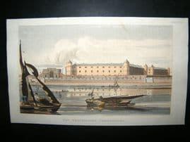 Ackermann C1810 Hand Col Print. Westminster Penitentiary, London Prison