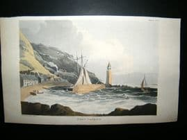 Ackermann C1815 Hand Col Print. Port Patrick, Scotland. Lighthouse