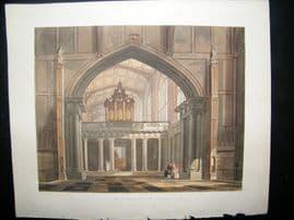 Ackermann History of Eton 1816 Hand Col Print. Ante Chapel of Eton
