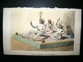 Ackermann (Pub) 1813 Aquatint. Indian Fakir Jugglers. Hand Col Print