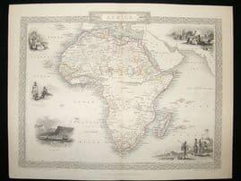 Africa: 1852 Antique Map. Decorative. Tallis Rapkin