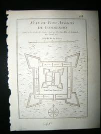 Africa Ghana: C1750 Antique Map, Fort de Commendo Bellin Prevost