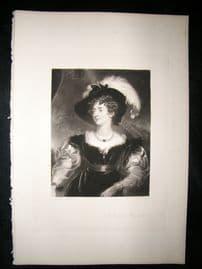 Aft Thomas Lawrence 1845 Folio Mezzotint Portrait. Duchess of Northumberland