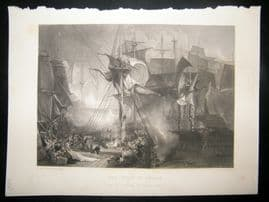Aft. Turner 1861 Antique Print, The Death of Nelson, Naval Maritime, Art Journal