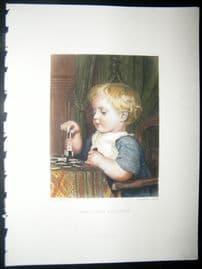 After Anker 1874 Hand Col Art Journal Print. The Little Architect, Children
