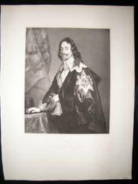 After Anthony Van Dyck C1840 LG Folio Print. Charles I, King of England