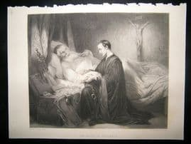 After Baron Wappers 1865 Steel Engraving. Death of Columbus