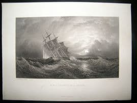 After Brierly 1875 Antique Print, H. M. S. Galatea Ship on a Cruise, Art Journal