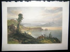 After Callow 1856 Hand Col Art Journal Print. Bay of Naples, Italy