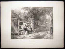 After Collins 1860 Antique Print. Rustic Civility. Children