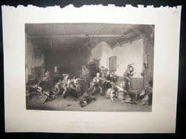 After David Wilkie 1860 Steel Engraving. Blind Man's Buff