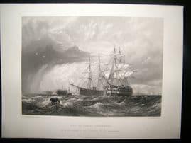 After Dawson 1871 Antique Print, Men of War at Sheerness, Ships, Art Journal