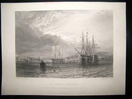 After Dawson 1871 Antique Print, The Hamoaze, Devonport, Ships, Art Journal