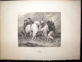 After Edwin Landseer C1840 LG Folio Antique Print. Deer Stalkers