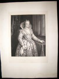 After Giovanni Antonio Fasalo C1840 LG Folio Print. Portrait of Maria Medici